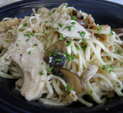 Capellini with Chicken and Mushrooms