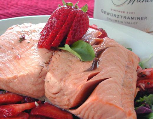 Salmon Strawberry Cress Salad